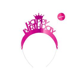 "Tiara Buon Compleanno Fucsia Metal ""Party Lady"" 4pz"