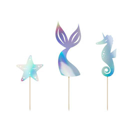 "Cake Topper Sirena Iridescente ""Mermaid Party"""