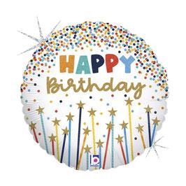 "Palloncino 18"" mylar Happy Birthday ""Star Candles"""