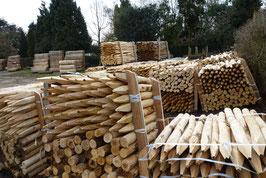 Pfosten aus Kastanienholz 80 cm lang, Durchmesser von 6/8 für Zäune von 50 oder 60 cm