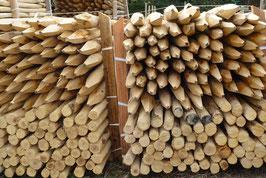 Pfosten aus Kastanienholz 120 cm lang, Durchmesser von 6/8cm  für Zäune von 75 cm Höhe