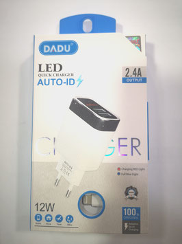 DADU CARGADOR CON CABLE LIGHTNING 12W. 2.4A QUICK CHARGER. CARGAR Y DATOS ( IPHONE 5,5S,6,6S,7,8,X,XR,XS,MAX,11,PRO ,IPAD mini,air) CERTIFICADO  Movil y Tablet