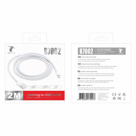CABLE USB  LIGHTNING  2.0A 2 METROS PARA CARGAR Y DATOS IPHONE 5,5S,6,6S,7,8,X,XR,XS,MAX,11,PRO ,IPAD mini,air.  CERTIFICADO