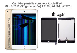 Cambiar / Reparar Pantalla Completa. Cristal tacti + lcd interna  Apple  iPad Mini 5 2019 (5.ª generación) A2133 , A2124 , A2126