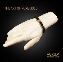 ARMBAND VULCANO   Naturlava mit Feingold 999.9 / Bracelet Lava with Pure Gold 24K / UNISEX