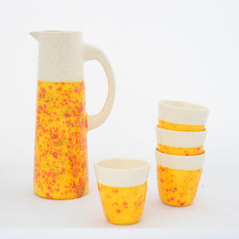 "Ensemble Pichet + 4 Tasses Orange Flamme  Collection ""Tachetée"