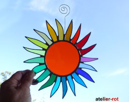 große bunte Sonne Tiffany Fensterbild Regenbogen