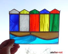 Strandhäuser am Meer Tiffany Fensterbild