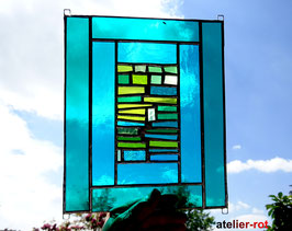 modernes Fensterbild grüne Vielfalt  Tiffany Unikat