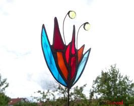 Gartenstecker bunte Blume aus Tiffany Buntglas