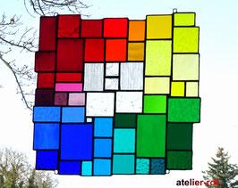 modernes Tiffany XXL Fensterbild Regenbogen bunte Vielfalt