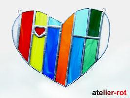 buntes Herz Tiffany Fensterbild