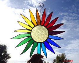 große bunte Sonne Tiffany Fensterbild