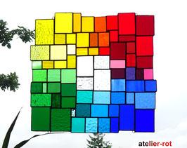 modernes Tiffany XXXL Fensterbild Regenbogen bunte Vielfalt
