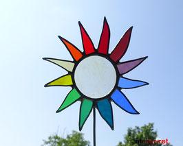 Gartenstecker kleine bunte Sonne aus Tiffany Glas
