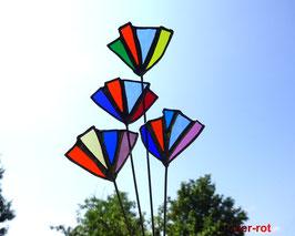 4 Blumen aus Tiffany Glas Gartenstecker
