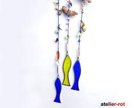 maritimes Mobilé 3er Set Fisch Fensterbild Tiffany