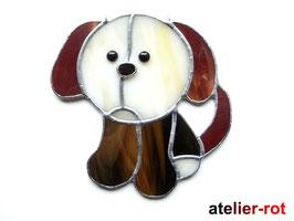 Hund Fensterbild Tiffany Welpe