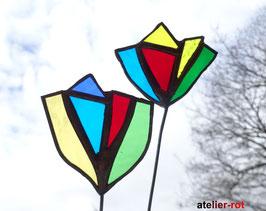 2 Blumen aus Tiffany Glas Gartenstecker