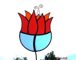 Gartenstecker rote Blume
