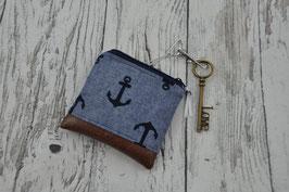 Nähset Mini-Geldbörse/Schlüsseletui Freddie - Jeansblau mit Ankern