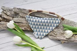 Tau-Hundehalstuch - staubblaue Dreiecke