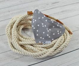 Tau-Hundehalstuch - Dreiecke Rosa/Grau