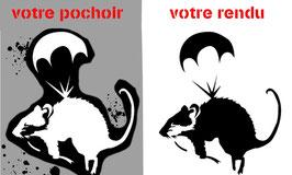 """Pochoir Banksy ( à bomber) """"Rat : Parachute"""""""