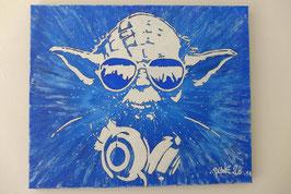 Tableau Street Art - Maître Yoda - Music Headphones