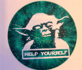 Disque Vinyle Décoratif MAITRE YODA - HELP YOURSELF (Pochoir Star Wars)