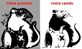 """Pochoir Banksy ( à bomber) Rat """"Déchets Radioactifs"""""""