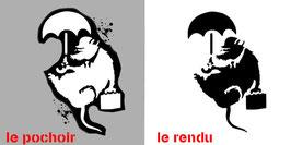 Pochoir Banksy ( à bomber) Rat avec parapluie