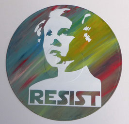 Disque Vinyle Décoratif - LEIA - CARRIE FISHER - RESIST (Pochoir Star Wars)