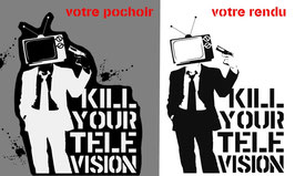 "Pochoir Banksy ( à bomber) ""Kill Your Television"""