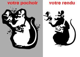 """Pochoir Banksy ( à bomber) """"Rat : Écoute Téléphonique"""""""