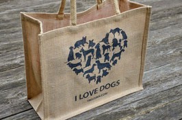 Jute Shopper I love Dogs