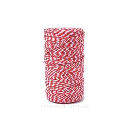 Decoratief touw katoen rood wit voor vlagletters 2 meter