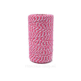 Decoratief touw katoen roze wit voor vlagletters 2 meter