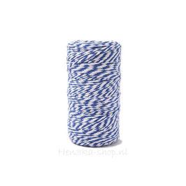 Decoratief touw katoen blauw wit voor vlagletters 2 meter