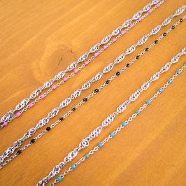 Bracelet double de cheville acier & couleur