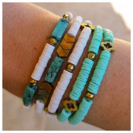 Bracelet rondelles bleu turquoise & doré