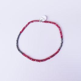 Bracelet en hématite et verre rouge