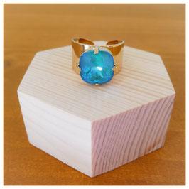 Bague doré or fin cristal turquoise