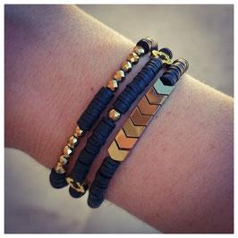 Trio de Bracelets rondelles noir & doré