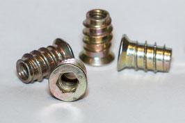 Einschraubmuffen Metall M6 x 17 mm | Mutter zum eindrehen | Innensechskant | 20 Stück