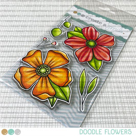 Clear A6 Doodle Flowers