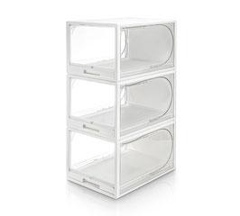 Schubladenschuhbox Weiß/Transparent | 3er Set