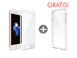 Zusatzoption: Displayschutz Glasfolie Fullcover inkl. Montage für iPhone 6S (weiß) + Clear Case geschenkt!