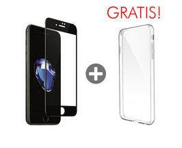 Zusatzoption: Displayschutz Glasfolie Fullcover inkl. Montage für iPhone 8 (schwarz) + Clear Case geschenkt!