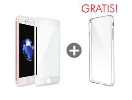 Zusatzoption: Displayschutz Glasfolie Fullcover inkl. Montage für iPhone 8 (weiß) + Clear Case geschenkt!